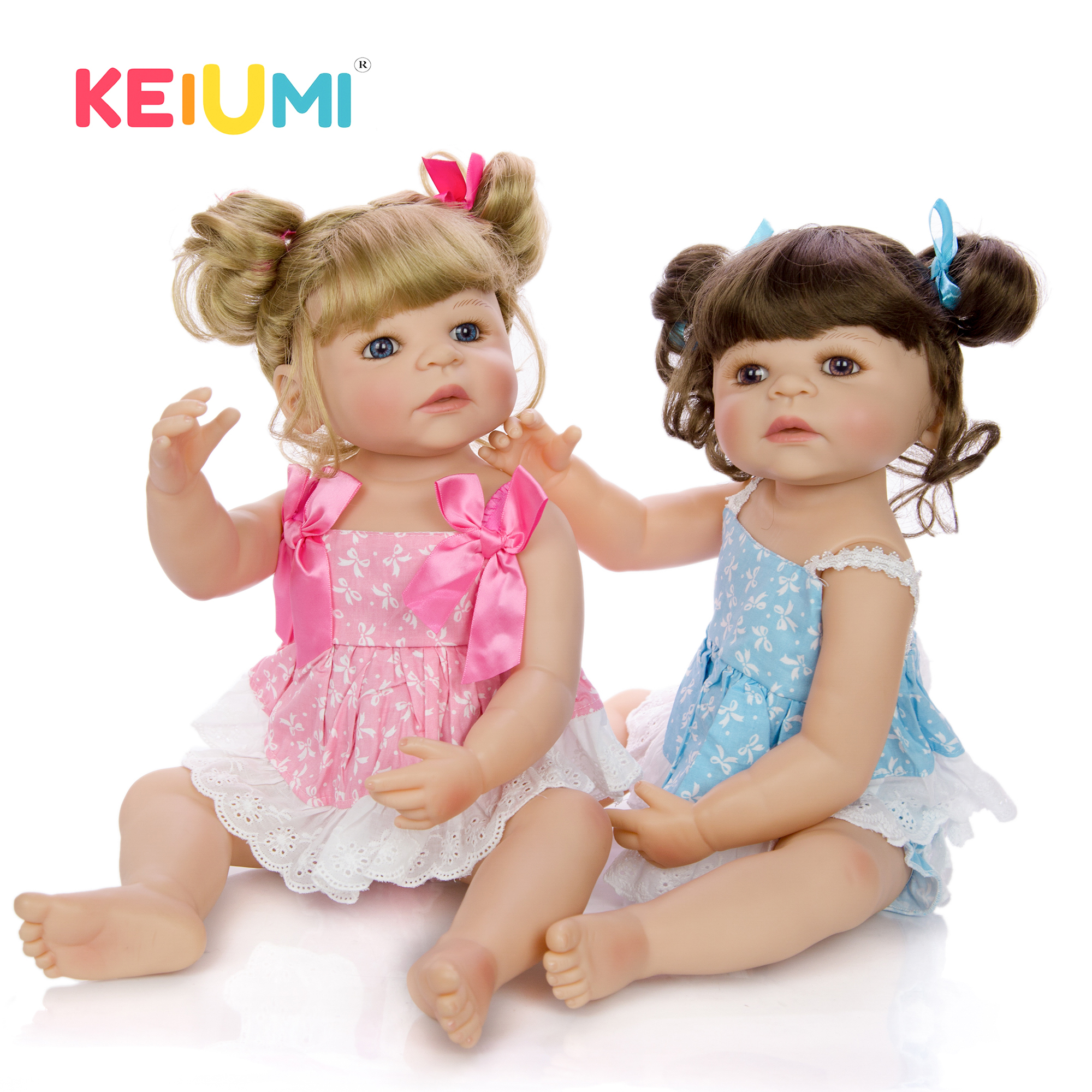 Lifelike 22 Inch Princess Twins Reborn Babies Girl Dolls For kids Playmates 55 cm KEIUMI Newborn