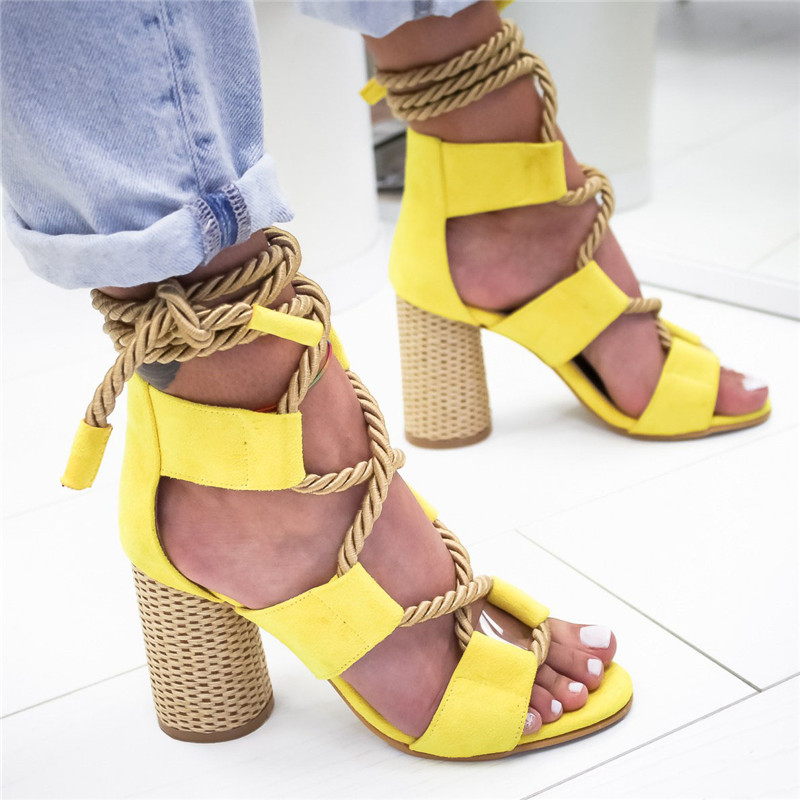 YELLOW Bohemian Summer Wedge Sandals Women Pointed Fish Mouth Lace Up Platform Shoes