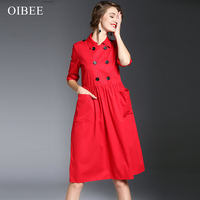 Lady Elegant Retro Autumn Double Barrel Suit Collar Long Sleeve Clothing Work Office Casual Party Skateboard Dress