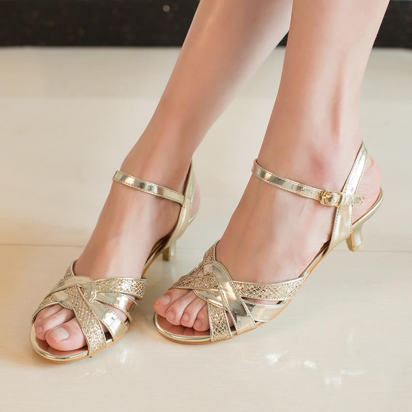 Nice ShoSole Brand Silver Low Heel Wedding Shoes Kitten Heels Sandals Gold Dress  Party Shoes Strappy Rhinestone Prom Sandals In Womenu0027s Sandals From Shoes  On ...