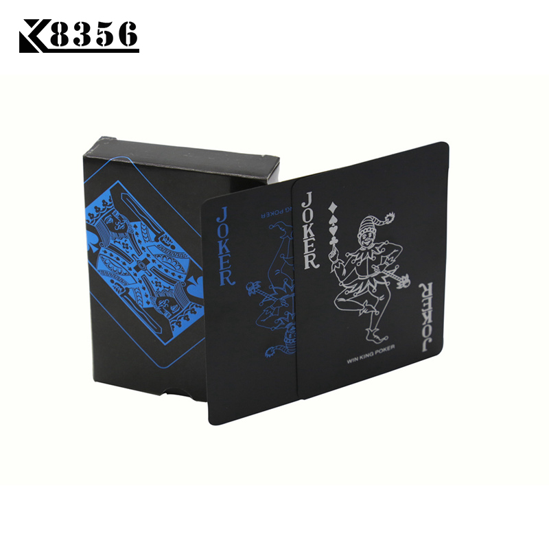 K8356 Smooth Waterproof Black Plastic Playing Cards Black Plastic Texas Holdem Poker Cards Baccarat Board Games 2.48*3.46 inch