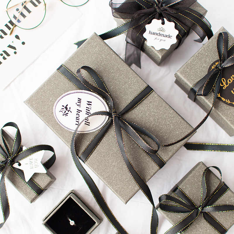 1pc Christmas high quality Mysterious gray gift box beloved Valentine's Day paper gift bag Creative wedding jewelry box Packing