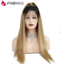 Fabwigs 1B/27 Ombre Color Lace Front Human Hair Wig With Baby Hair Remy Hair Brazilian Silky Straight Human Hair Wig Pre Plucked