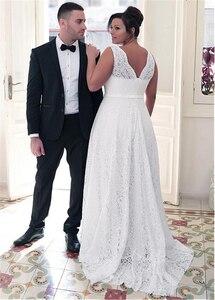 Image 2 - แฟชั่นอัญมณีลูกไม้คอ A Line PLUS ขนาดชุดแต่งงาน Bowknot ลูกไม้สีขาว 26W ชุดเจ้าสาว