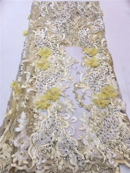 embroidered tulle lace 3D lace fabric with yellow flowers, embroidered lace fabric with 3D flowers bridal Lace Fabric FFZ6-18