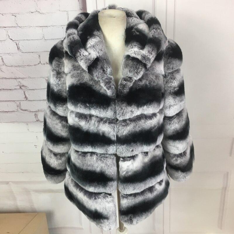 real rex rabbit fur coat for women 60cm long hooded High quality chinchilla rex rabbit fur coat