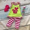 Bebé niñas boutique de ropa conjuntos trajes Pascua niñas volantes de algodón pantalón de rayas conjuntos de trajes de verano con accesorios