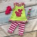 Conjuntos de roupas de bebê meninas boutique roupas De Páscoa meninas babados de algodão listrado calça conjuntos de roupas de verão com acessórios