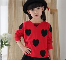 New 2017 Autumn Fashion Wool Casual Pullover Knitted Sweater O-Neck Printted Love For Girl Sweet Princess Baby Clothes S138