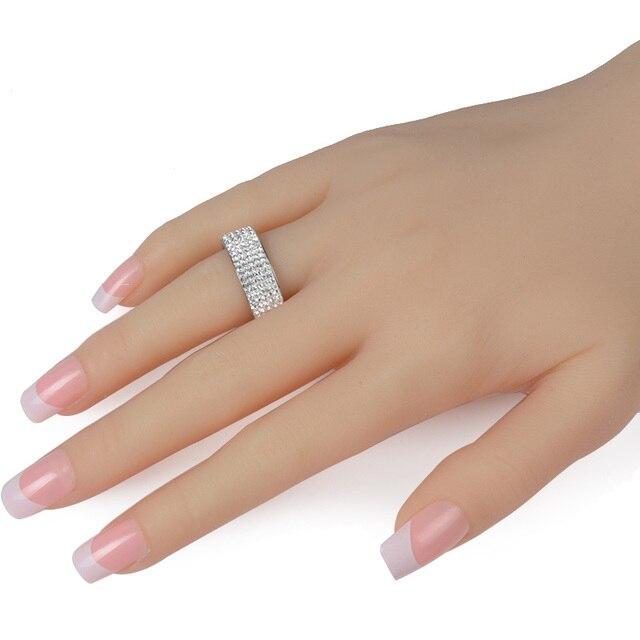 Chanfar 5 Rows Crystal Stainless Steel Ring Women for  Elegant Full Finger Love Wedding Engagement Rings 2