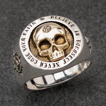 f0dbe80168fe Cráneo anillos de plata para hombre Vintage Punk joyería de moda de plata  esterlina