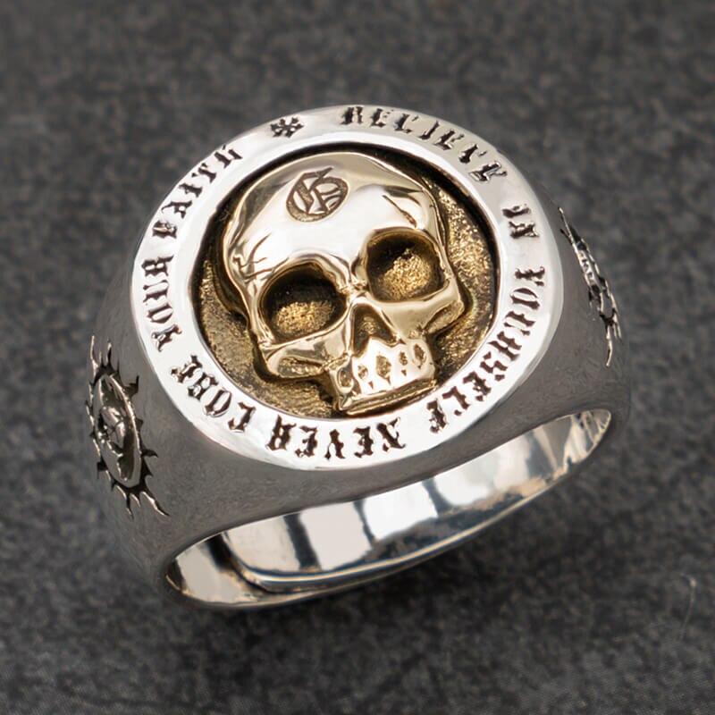Crâne Argent anneaux pour homme Vintage Punk Sterling Argent bijoux de mode