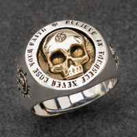 Skull Silver rings for man Vintage Punk Sterling Silver fashion jewelry hippop street culture