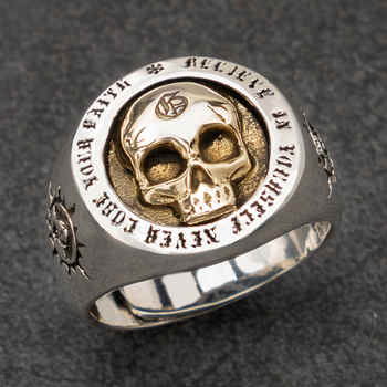 Skull Silver rings for man  Vintage  Punk Sterling Silver fashion jewelry  hippop street culture mygrillz - DISCOUNT ITEM  5% OFF All Category