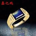 18 k de ouro incrustada anel de safira naturais anel de chapa