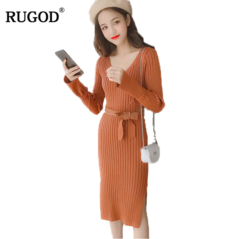 RUGOD Fashion Solid Christmas Dress V-neck Long Sleeve Sweater Dress With Belt Autumn Winter Knee-length Dresses For Women