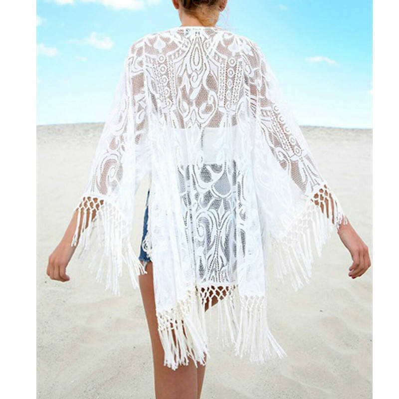 Boho White Open Front Tassel Lace Mesh Sheer Kimono Cardigan Women Summer 3/4 Sleeve Solid Vacation Beach Kimonos