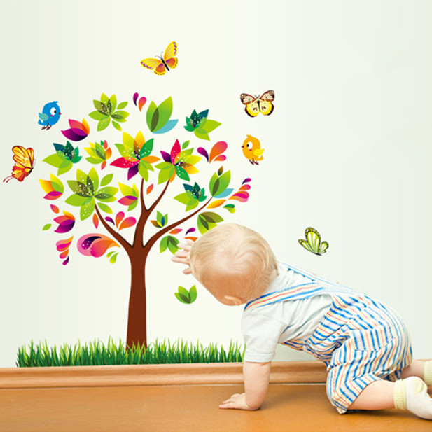 Elegant Latest 70*80cm Colorful Tree Birds Butterfly Wall Sticker For Kids Room  Home Decor Children Part 13