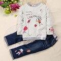 Kids Tales SKW-076 девочка детской одежды дети девушка с длинными рукавами t устанавливает случайные дизайн футболки и брюки носит свободный корабль