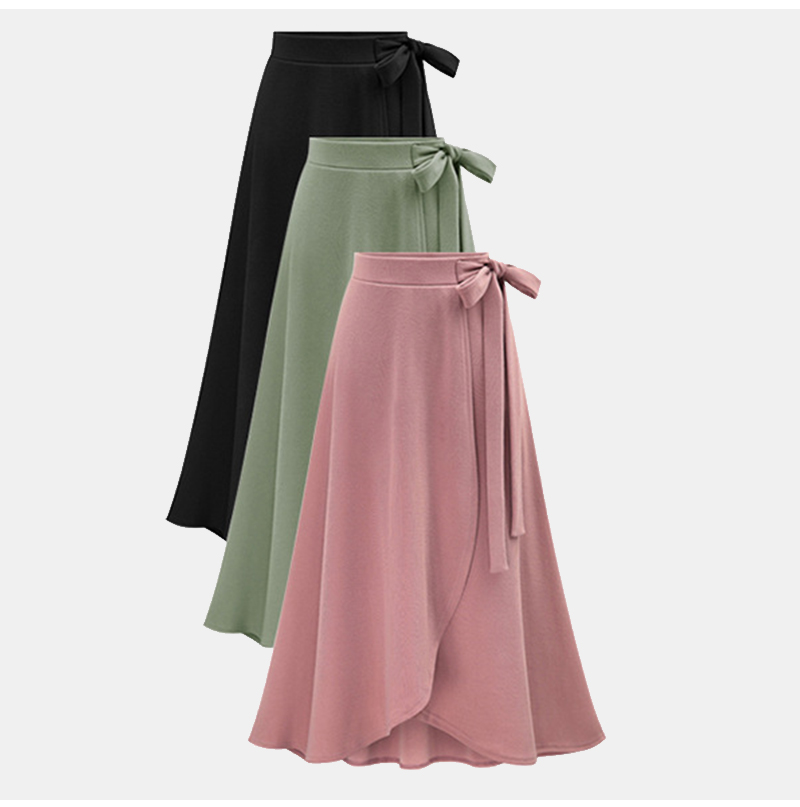 Plus Size Stylish Designed Women's Autumn Asymmetric Slit Solid-color Wrap Long Skirt Lady Daily Casual Bandage Midi Skirt M-6XL 8