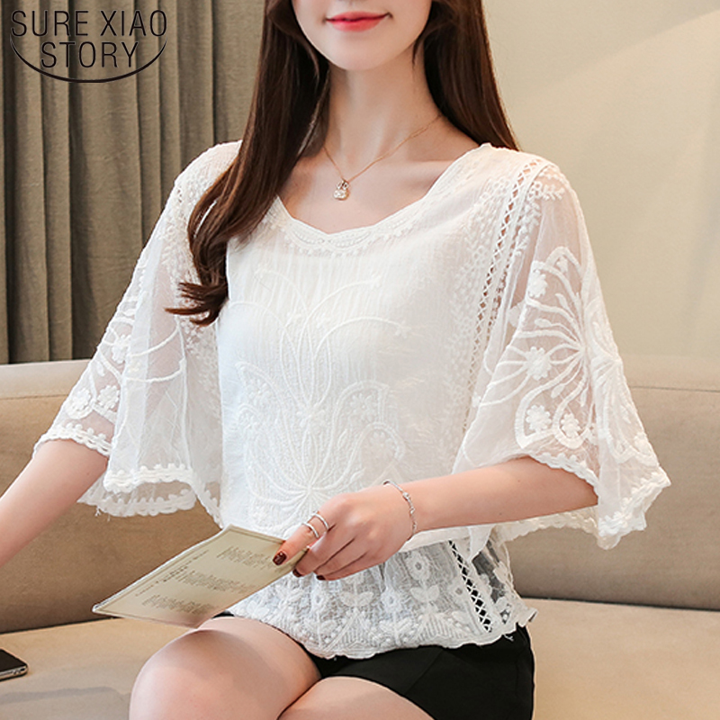 New Chiffon   Blouse   2019 Summer Full Cotton Edge Lace   Blouses     Shirt   Butterfly Flower Half Sleeve Women   Shirt   Fashion 4073 50