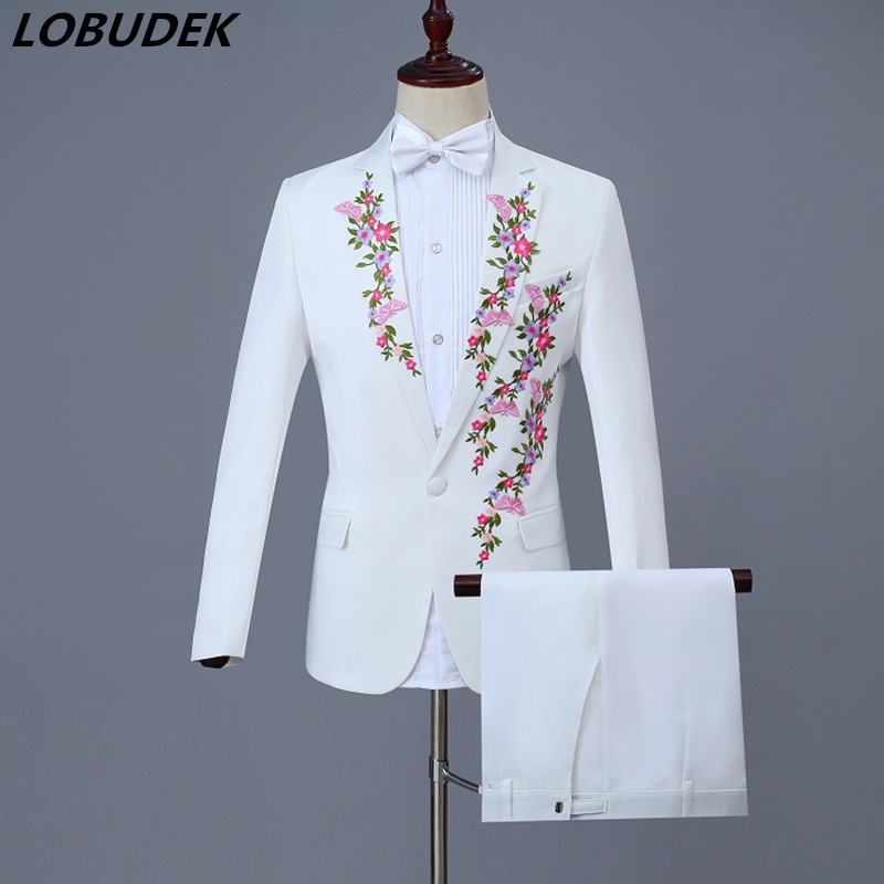 New White Choral Dress Plum Blossom Embroidery Men's Suits Prom Festival Gala Host Singer Chorus Costumes Adult Male Stage Wears