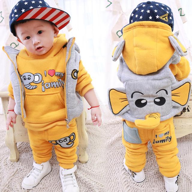 Crianças de varejo conjunto de roupas de inverno criança set bebê menina & do menino camisola + colete + calça conjuntos de 3 peça anos de idade do bebê mais grosso terno