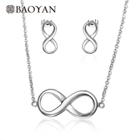Baoyan 316L Stainless Steel Silver Infinity Necklace and Earring Jewelry Sets Jewellery for Women Wholesale Mixed Lots N3