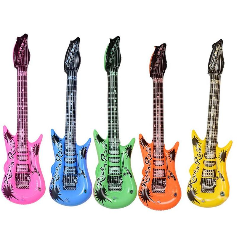 54cm 6 Colors Musical Toys Inflatable Guitar Party Inflatable Balls Air Balloons Karaoke Party Decorations Toys For Children