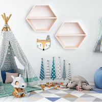 Hexagonal Wooden Shelf Adornment For Baby Room Hanging Plants Toys Book Doll Shelves Honeycomb Nordic Style