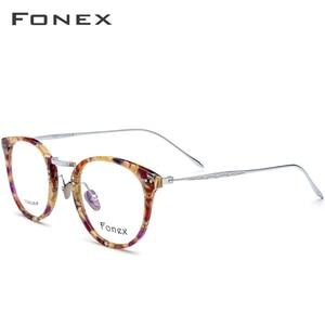 Image 3 - FONEX Reines Titan Brille Rahmen Männer Vintage Runde Ultraleicht Brillen Rezept Myopie Optische Frauen Acetat Brillen 9132