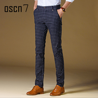 OSCN7 Plaid 2017 Mens Dress Pants Slim Fit Leisure Office Pants Men Mens Pants Formal Plus