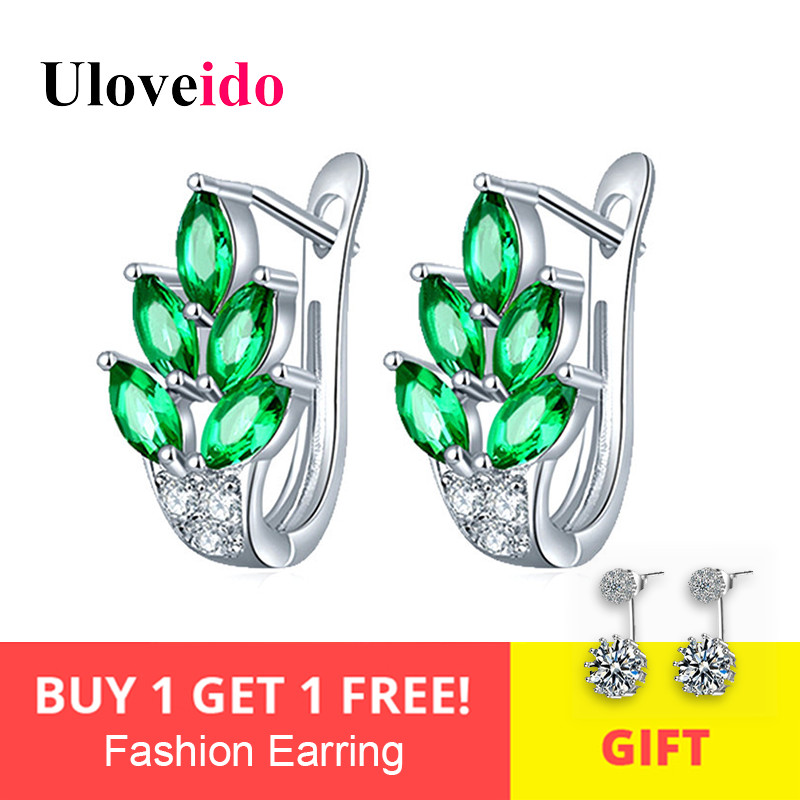 Uloveido Stud Earrings for Women Cute Green Leaf Earings with Stones Silver Color Cubic Zirconia Female Earring 20% Off Y337