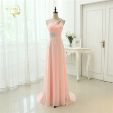 Free Shipping ! Cheap Price In Stock One Shoulder Beading Crystal Floor Lenght Chiffon Evening Dresses OL330