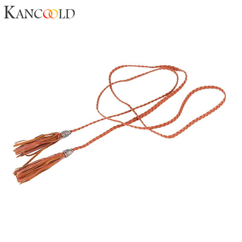 KANCOOLD 92CM belt female Leather thin belt female Tassel Ceinture Waist Rope Beautiful Waist Decorations Drop shipping jan30