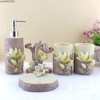 Resin bathroom set of five pieces set fashion bathroom supplies dental kit shukoubei Soap dish Toothbrush holder