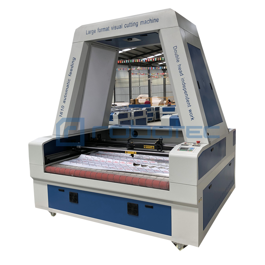 1610 co2 laser machine with CCD Camera / double heads fabric laser cutting machine with auto feeding table