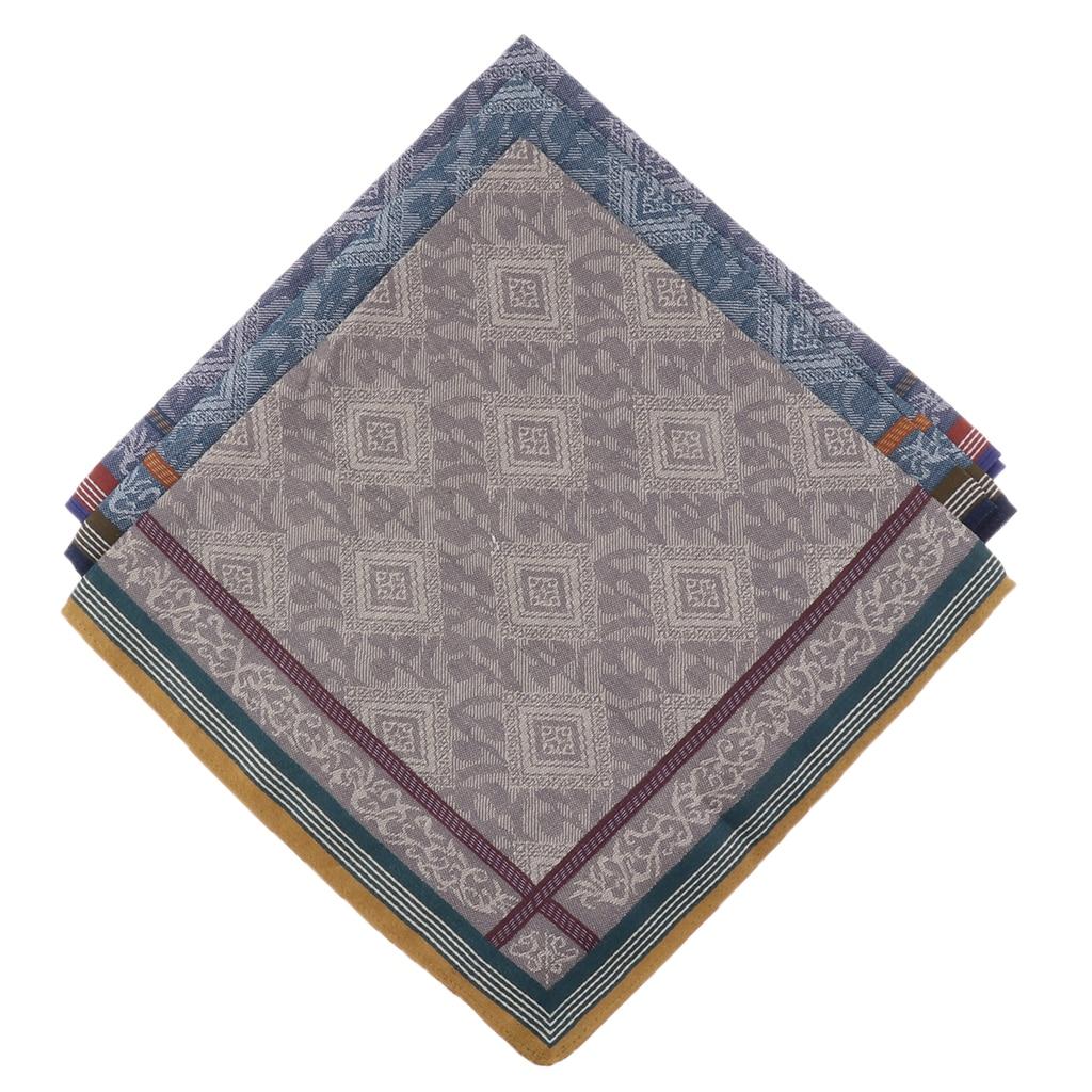 3pcs Classic Mens Plaid Handkerchiefs For Men 100% Cotton Pocket Square Hanky Hankies For Wedding Party 43*43cm