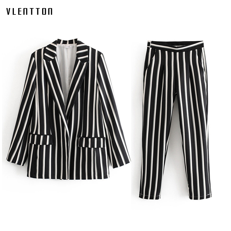 2019 Autumn Black And White Striped Women Pant Suits Work Office Ladies Blazer Jacket Coat & Trouser Female Suit Two Piece Sets