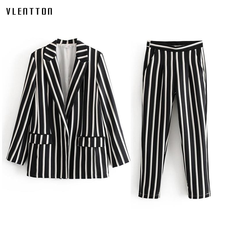 2019 Autumn Black And White Striped Women Pant Suits Work Office Ladies Blazer Jacket Coat & Trouser Female Suit Two Piece Sets