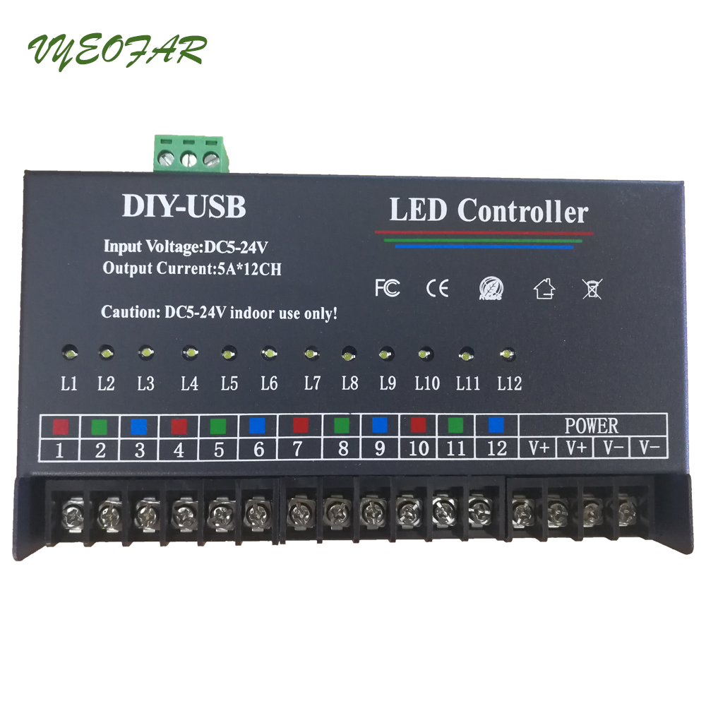 USB DIY LED RGB RGBW Controller 12 Channel Programmable Controller 5A*12CH;12Channels LED Controller for 3528&5050 led strip good group diy kit led display include p8 smd3in1 30pcs led modules 1 pcs rgb led controller 4 pcs led power supply