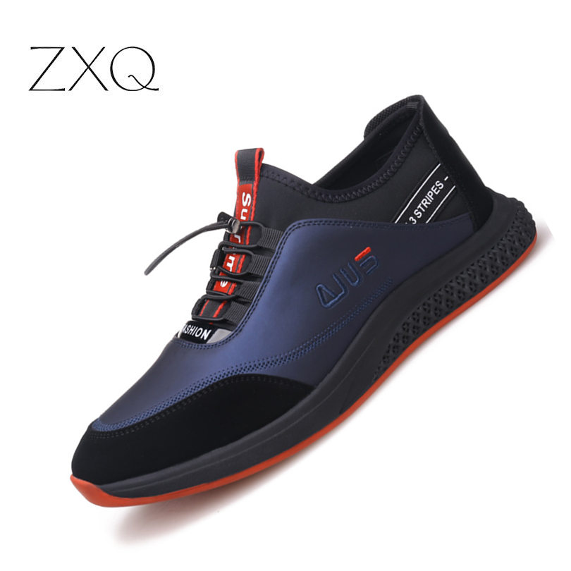 Super confortable hommes en cuir chaussures décontractées de haute qualité en caoutchouc souple semelle noir bleu marque de mode baskets en cuir chaussures