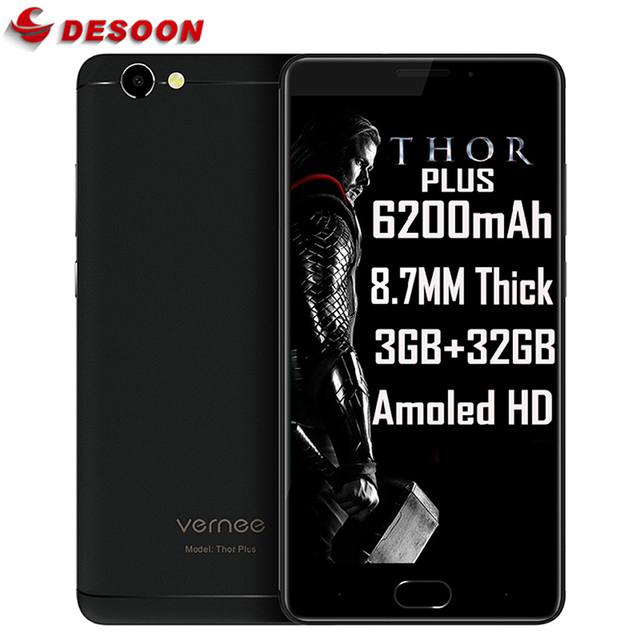 "Vernee Thor Plus 5.5""HD mobile Phone Android 7.0 6200mAh superbattery Octa Core 3GB RAM 32GB ROM 13MP Fingerprint 4G Smartphone"