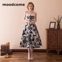 2018 Simple A Line Bridesmaid Dresses Lace Up Satin Floral Print Custom Made Tea Length Strapless