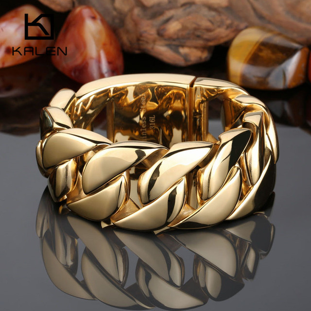 Kalen High Quality 316L Stainless Steel Italian Gold Plated Bracelet Bangle Men Heavy Chunky Chain Bracelet Fashion Jewelry Gift