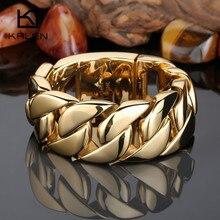 Kalen wysokiej jakości 316 ze stali nierdzewnej włochy złota bransoletka Bangle męska ciężki Chunky Link Chain bransoletka biżuteria prezenty