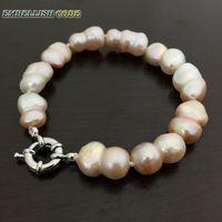 Selling Well Bracelet Baroque Style Irregular Peanut Shape Light Pink Real Freshwater Pearl Bangle Make Knots