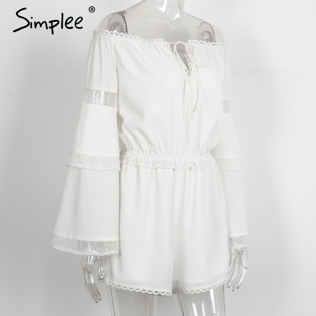 Simplee Sexy off shoulder hollow out jumpsuit romper Women elegant flare sleeve white overalls Casual ruffle summer playsuit