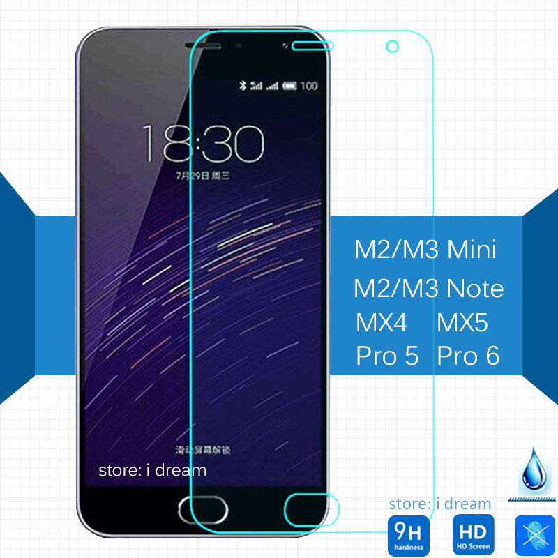 2PCS Meizu M2 M3 mini M2 M3 Note MX5 Pro 5 Pro 6 Tempered Glass Screen Protector On M2mini M2note M3note pro5 pro6