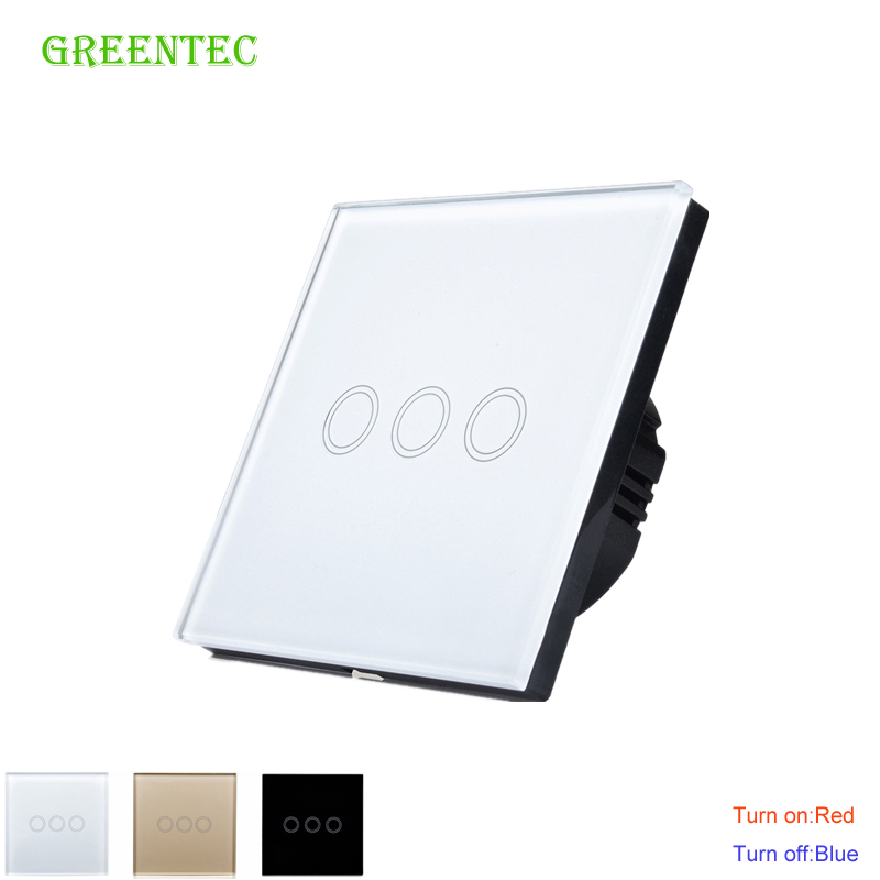 EU Standard  Touch Switch 3 Gang 1 Way white/black/Golden,Glass panel switch,Waterproof and durable,Wall Light Touch Switch smart home us au wall touch switch white crystal glass panel 1 gang 1 way power light wall touch switch used for led waterproof